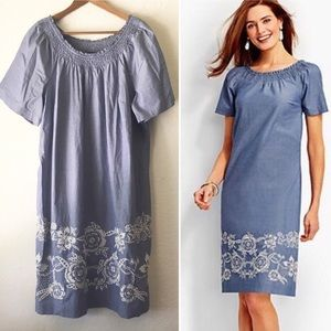 Talbots Embroidered Dress 16W Chambray Blue White